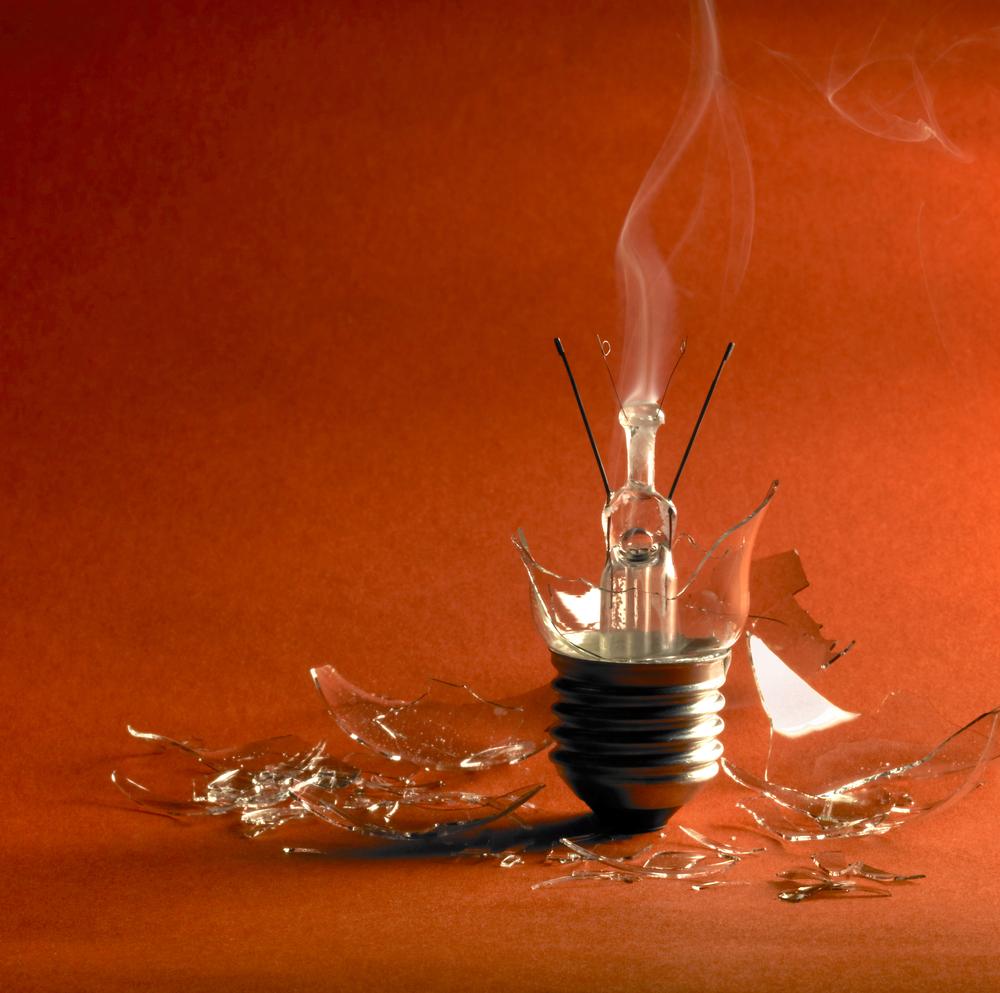 If the light bulb's power rating is less than dissipated power, the bulb would explode.